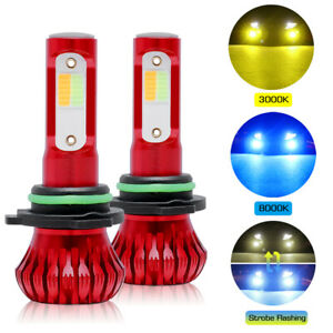 9006 Hb4 Led Fog Light 3000k Yellow 8000k Blue Dual Color Strobe Mode Flash Lamp