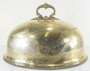 Antique English Sheffield Silver Plate Large Meat Dome Engraved Heavily Worn