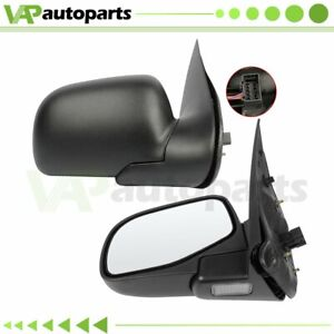 For 2002 05 Ford Explorer Left right Side Mirrors Black Power Puddle Lamp