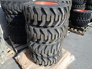 Set Of 4 Bobcat Heavy Duty Skid Steer Tires On Rims 12 16 5 Nhs Will Fit Many