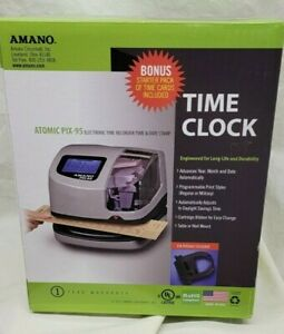 Amano Atomic Pix 95 Time Clock Electronic Time Date Stamp Digital Lcd New