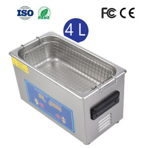 4l Stainless Steel Ultrasonic Cleaner Sonic Cleaning Jewelery Equipment Parts Us