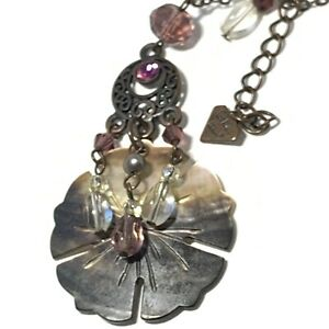 VTG Signed COOKIE LEE Shell PENDANT NECKLACE Carved FLOWER Beads Pink RHINESTONE $20.95