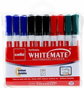 10 X Large Cello Dry Wipe White Board Markers Pens Bullet Tip Black Blue Red
