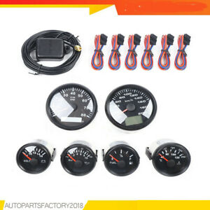 6 Gauge Set With Senders speedo tacho oil temp fuel volt Black For Truck Boat