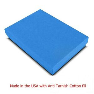 100 Cobalt Blue Cotton Filled Jewelry Packaging Gift Boxes 5 3 8 X 3 7 8 X 1