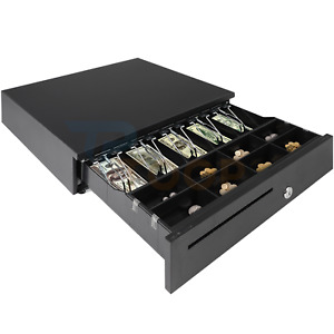 Cash Drawer Electronic Point Of Sale Removable Money Tray Double Media Slot