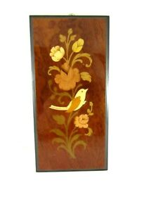 Vintage Made In Italy Wooden Marquetry Picture Of A Bird 4 x8