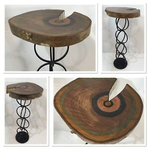 Wood Colored Slab Pedestal Accent Cocktail Table W Black Iron Leg Base