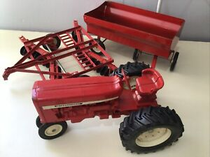 Vintage International Diecast Farm Tractor With Grain Wagon Disc Implement