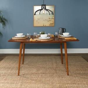 Dining Table 60 In Rectangle Mid Century Fixed 4 Legs Wood Acorn Brown Seats 6