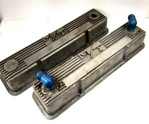 Vintage Mickey Thompson Aluminum Finned Valve Covers Small Block Chevy