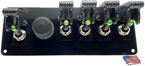 Black Powder Coated Panel W 5 Green Led Switches carbon Covers black Push Start