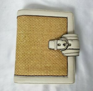 Franklin Covey Compact Planner Binder Simulated Leather Ivory Woven Faux Buckle