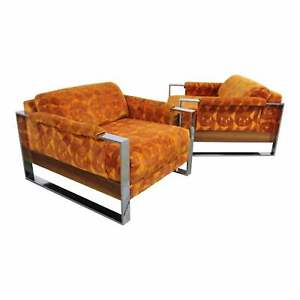 Pair Of Mid Century Modern Adrian Pearsall Craft Associates Chrome Lounge Chairs