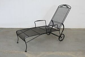 Floral Woodard Style Outdoor Chaise Lounge Chair