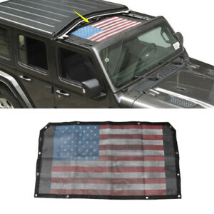 Car Sunshade Front Mesh Top Half Cover For Jeep Wrangler Jl 2018 20 Us Flag 1pc