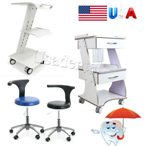 Dental Medical Trolley Built in Socket Cart Stand mobile Chair Adjustable Stool
