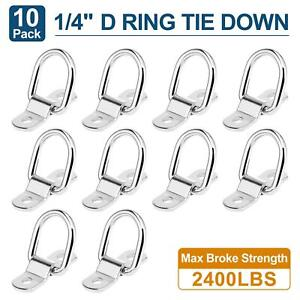 10pcs 1 4 Stainless Steel D Ring Tie Down Anchor For Car Truck Trailers Rv Boat