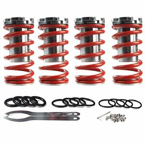 New Adjustable Suspension Lowering Spring Coilover Coil Over Sleeves Kit Red