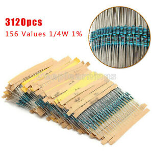 3120pcs 156 Values 1 4w 1 1 Ohm 10m Ohm Metal Film Resistors Assortment Kit Set