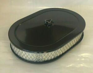 Black Oval Air Cleaner Steel White Filter 12 X8 Oval Chevy 350 327 383 Sbc