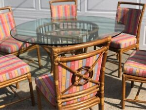 Mcguire Rattan And Glass Vintage Dining Set W 6 Chairs