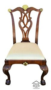 Maitland Smith Chippendale Ball Claw Mahogany Brass Dining Desk Accent Chair