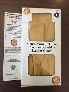 Wells Lamont Leather Premium Precurved Work Gloves 3 Pair Pack Large Item 864431