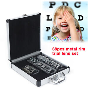 68pcs Optical Trial Lens Set Ophthalmic Glass Lenses Metal Rim Diameter 36 5mm