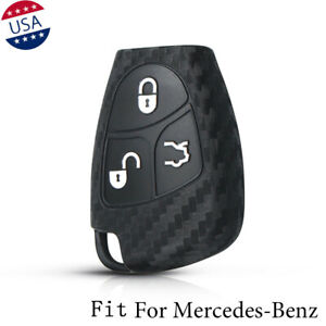 Carbon Fiber Pattern Soft Silicone Car Key Fob Cover For Mercedes Benz W203 W204