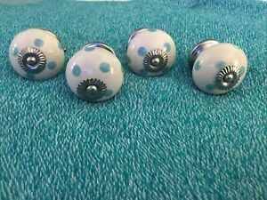 4 Porcelain White With Aqua Dots Drawer Pulls Knobs