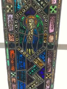 Antique German Stained Glass Church Angel Window From A Closed Church X12