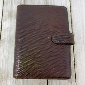 Vintage 1980s Filofax 6 Ring 5 5 8 Brown Lizard Planner Cover W Insert Tabs