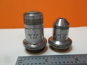 Pair Spencer Objective Lens 43x 10x Optics For Microscope As Pictured 16 c 36