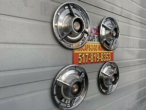 1963 Chevrolet Impala Ss 14 set 4 Used Hubcaps Spinners Very Nice Original gm