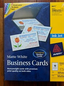 Avery Business Cards For Ink Jet Printers Matte White 8471