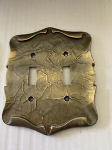 Vintage Amerock Carriage House Double Switch Plate Cover Antique Brass Free Ship