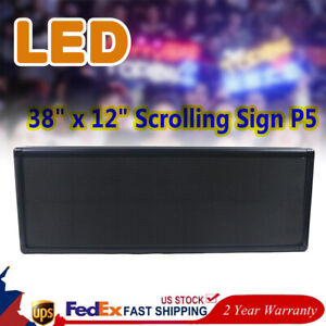 Led Sign Programmable 38 X 12 Scrolling Sign P5 Digital Message Display Board