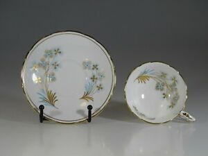 Royal Stafford Turquoise And Gold Floral Tea Cup And Saucer England C 1957