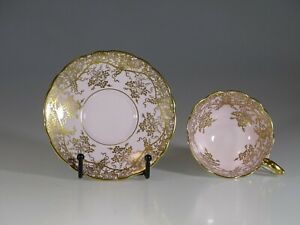 Royal Stafford Pink With Gold Grape Vines Tea Cup And Saucer England C 1957