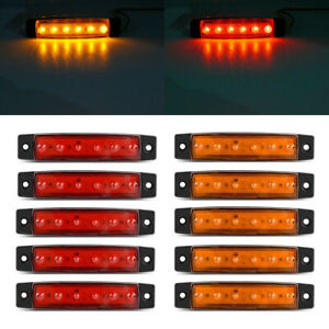 10x 3 8 Amber Red Side Marker Clearance Lights 6 Led For Car Truck Boat Trailer