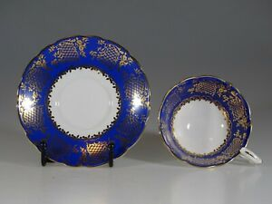Royal Stafford Royal Blue With Gold Overlay Tea Cup And Saucer England C 1960