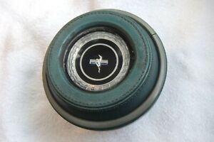1967 Ford Mustang Steering Wheel Center Horn Aqua Button Pad With Emblem