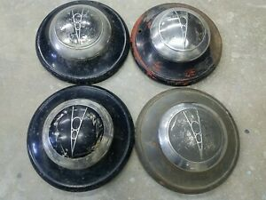 1936 39 Ford V8 Logo Dog Dish Hubcap Wheel Covers Set Of 4 Vintage Hot Rod