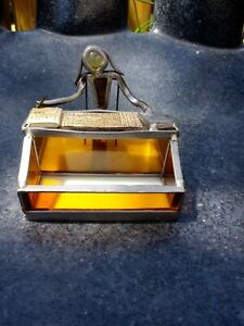 Vintage Hand Crafted Stained Glass Accountant Business Card Holder