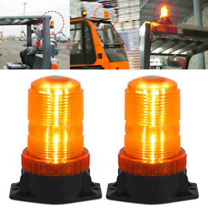 2x Rooftop Led Strobe Lights Amber Warning Safety Flashing Forklift Tow Tractor