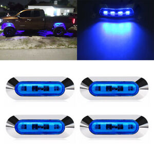 4x Blue 4 Led 4 Side Marker Lights Truck Trailer Rv Clearance Light Waterproof