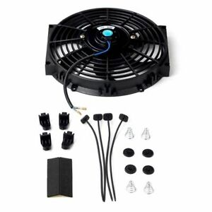 Universal 10 Inch Slim Fan Push Pull Electric Radiator Cooling 12v Mount Kit Bk
