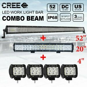 52inch 3 row 1000w Led Light Bar 20 4x 4 Pods Offroad For Jeep Truck Suv